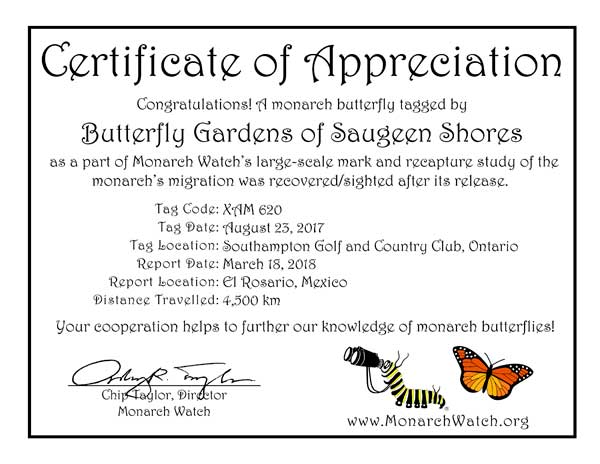 Monarch Tag Recovery Certificate