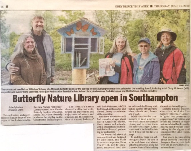 Newspaper Article about the BGOSS Nature Library