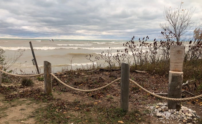 Site of the nature lending library by Lake Huron